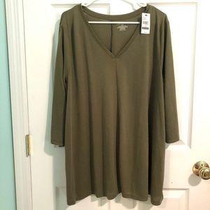NWT Lane Bryant Army green 3/4 sleeve tunic shirt
